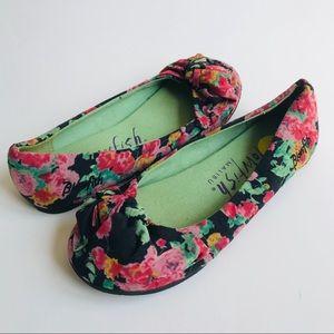 BLOWFISH Floral Top Knot Slip-On Ballet Flats